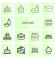 14 cupcake icons vector image vector image