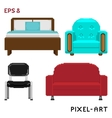 A set of furniture elements in pixel art style vector image