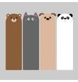 Animal head set Cartoon kawaii baby bear cat dog vector image