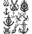 antique anchor and ship wheel set vector image