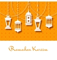 Arabic lanterns background for Ramadan Kareem vector image