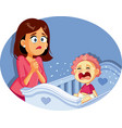 bacrying next to worried mother vector image vector image