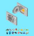 bank saving door set and elements part isometric vector image