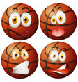 basketballs with four different emotions vector image