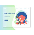 beautician website landing page design vector image vector image