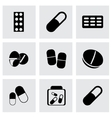 black pills icons set vector image vector image