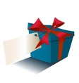 blue gift box with red ribbon isolated on white vector image