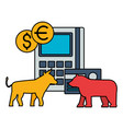 bull and bear stock market vector image vector image