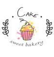 cake sweet bakery cupcake white background vector image