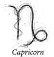 capricorn astrology sign hand drawn horoscope vector image