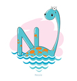 Cartoons Alphabet - Letter N with funny Nessie vector image vector image