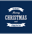 christmas text white ribbon merry christmas and vector image vector image