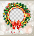 christmas wreath with bow vector image vector image