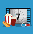 cinema counter with icons vector image vector image