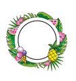circle emblem with ice cream and pineapple vector image vector image