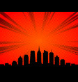 city skyline in comic book cartoon style vector image