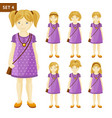 collection of cute little blonde girls with vector image vector image