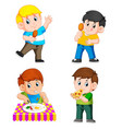 collection of the boy eating vector image vector image