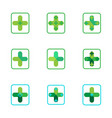 cross plus medical pharmacy green logo icons vector image