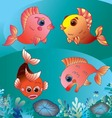 cute golden fishes on blue sea background vector image vector image