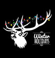 deer and garland winter background vector image vector image