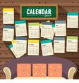 Flat Design Living Room 2017 Printable Calendar vector image