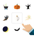 flat icon halloween set of magic zombie crescent vector image vector image