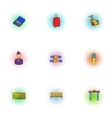 Flights icons set pop-art style vector image vector image