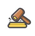 gavel hammer court icon cartoon vector image