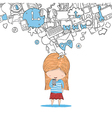 Girl teens playing with phone social network vector image vector image