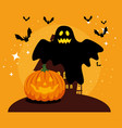 halloween card with pumpkin and ghost vector image vector image