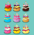 Happy Birthday Cake with Numbers Set vector image