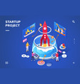 isometric landing page for startup project vector image vector image