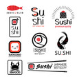 japanese food labels set with different sushi vector image