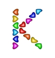 Letter K made of multicolored hearts vector image