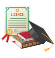 licence with stamp books pile and academic hat vector image vector image