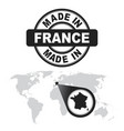 made in france stamp world map with zoom on vector image vector image
