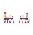 male female clerk working with laptop vector image vector image