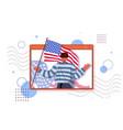 man holding usa flag celebrating 4th july vector image vector image