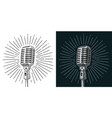 microphone with ray vintage black vector image vector image