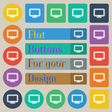 monitor icon sign Set of twenty colored flat round vector image