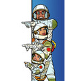 multi race family astronauts mom dad and son vector image vector image