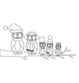 owls family on the branch coloring page vector image