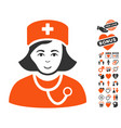 physician lady icon with lovely bonus vector image