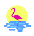 pink flamingo standing in the sea with sunset on vector image vector image