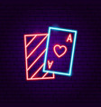 playing card ace neon sign vector image vector image