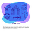 portugal banner or poster template with icons vector image vector image
