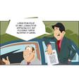 seller and customer at car dealership stock vector image vector image