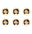 set business woman emotions facial expression vector image