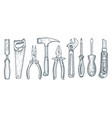 set hand tools collection hand drawn vector image vector image